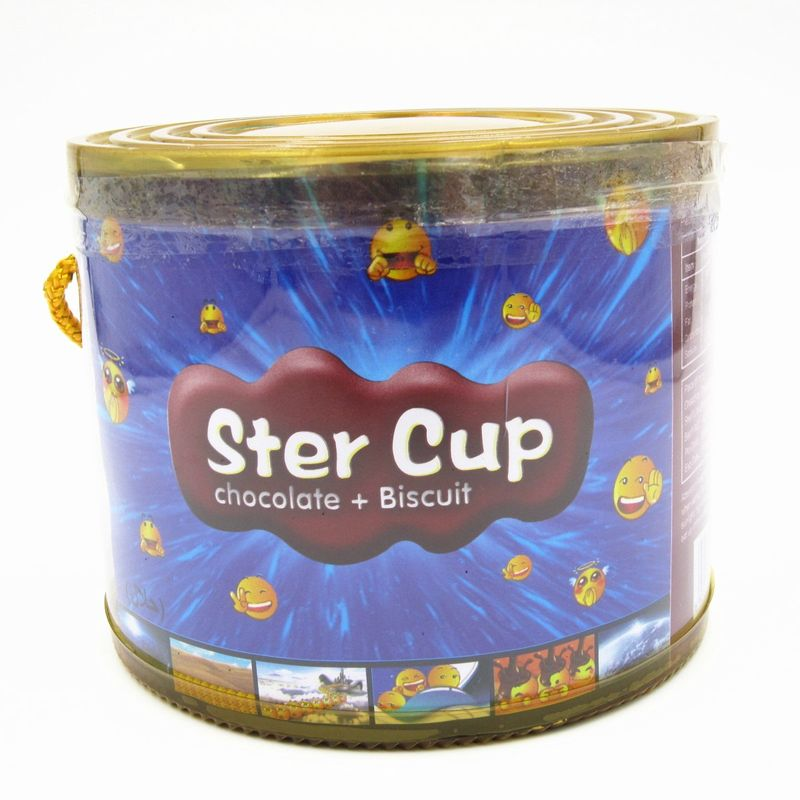 4g Star cup Chocolate snack in PVC Jar Sweety Chocolate With Crispy Cookie
